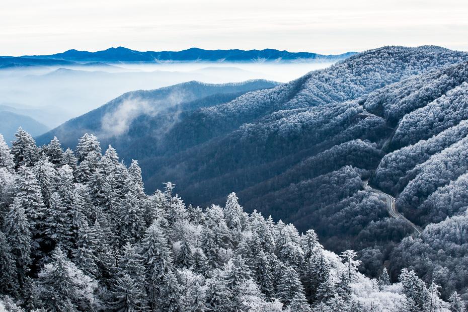 smoky mountains parks kalni ceļš ziema sapnis sarma slepošana nakts migla dūmaka štati amerika asv