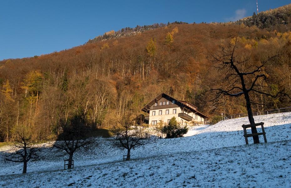 vaduca alpi kalni lihtensteina novembris decembris ziema