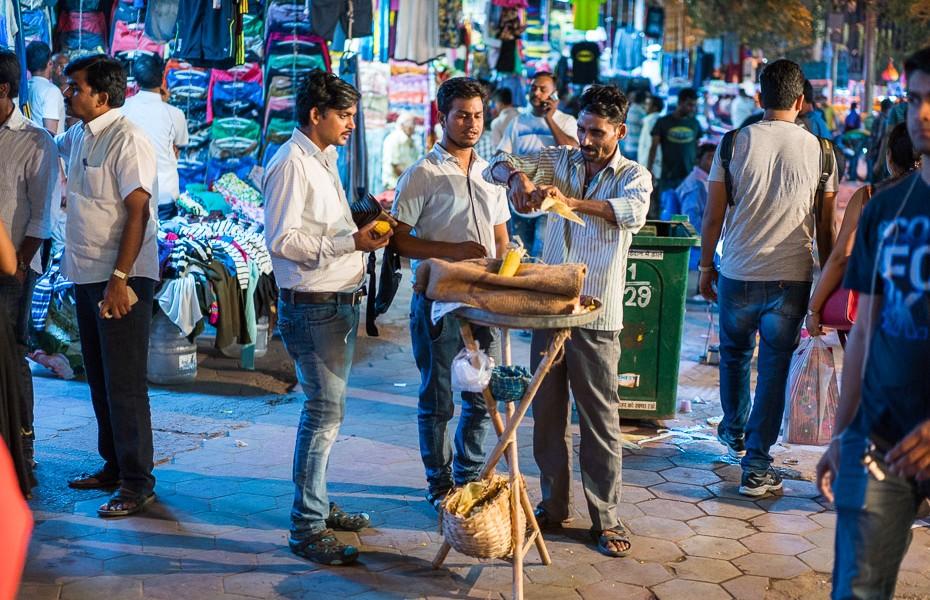 kukurūza deli indija ielu tirgotāji tirgus