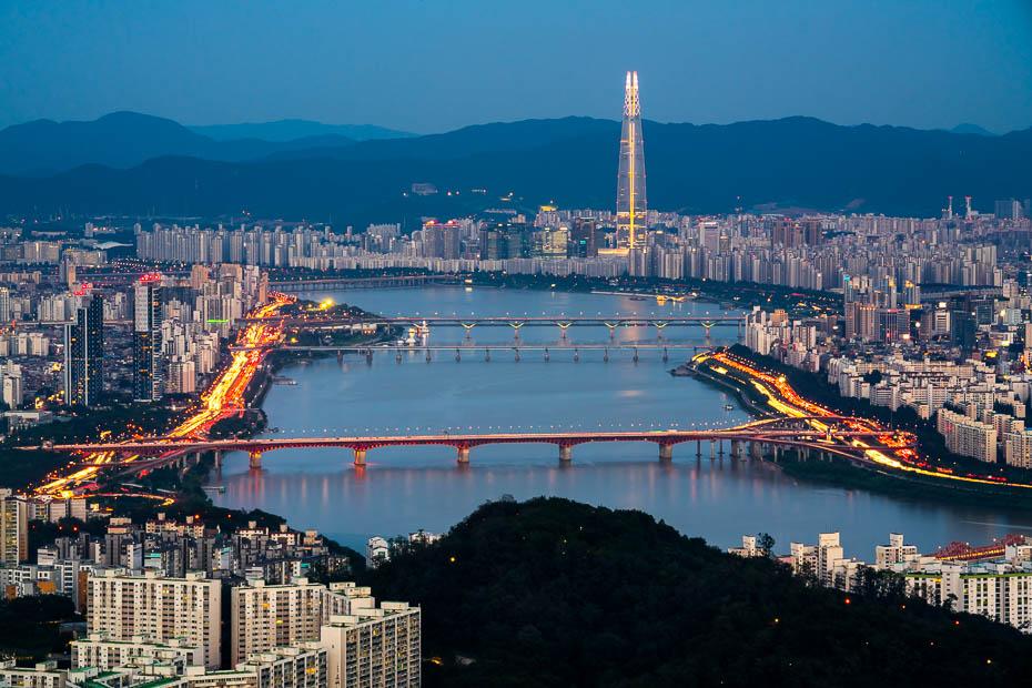 Skats no Namsan torņa Seulā