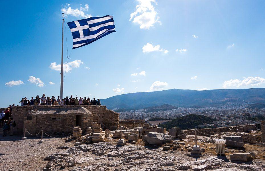 Grieķijas karogs Akropolē