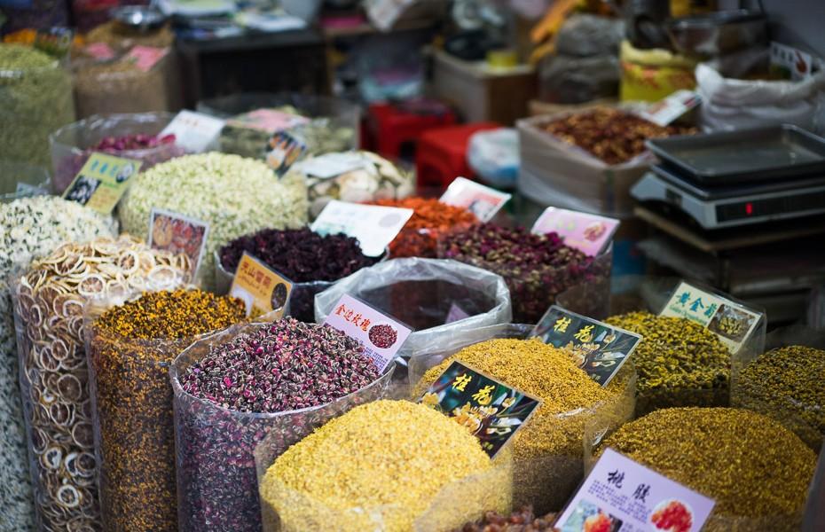 tēja qingping tradicionālais ķīniešu tirgus
