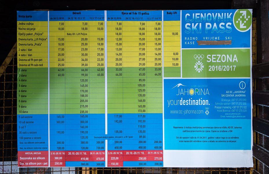 pacēlāju cenas slēpošanas bosnija un hercegovina